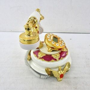 None Accents - Ornate Gold Tone Push Button Telephone